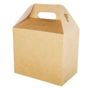 Pudełko z uchwytem 202x123x176 na zestawy obiadowe, brązowe op. 100 sztuk