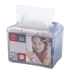KATRiN counter napkin dispenser N4 grey - transparent, with possibility to place advertising