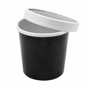 Pojemnik papierowy zupa, śr.9xh.8,4cm, czarny 360ml komplet z pokrywką, op. 25 kpl.
