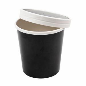 Pojemnik papierowy zupa, śr.9x10cm, czarny 480ml komplet z pokrywką, op. 25 kpl.