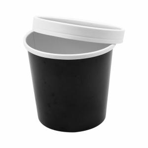 Pojemnik papierowy zupa, śr.11,7xh.11cm, czarny 780ml komplet z pokrywką, op. 25 kpl.