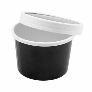 Pojemnik papierowy zupa, śr.9xh.6cm czarny 240ml komplet z pokrywką, op. 25 kpl.