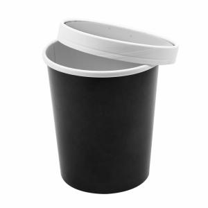 Pojemnik papierowy zupa, śr.11,7xh.13,5cm, czarny 960ml komplet z pokrywką, op. 25 kpl.