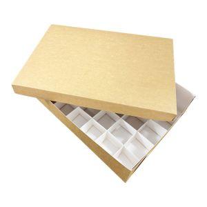 Pudełko catering set box POKRYWKA  op. 50szt 25x35cm h 3cm brązowo-białe TnG