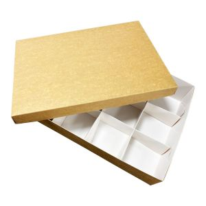 Catering set box BOTTOM, 50pcs 25x35cm h 8cm brown and white TnG