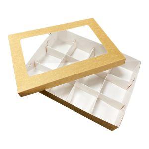 Pudełko catering set box POKRYWKA OKNO op. 50szt 25x35cm h 3cm brązowo-białe TnG