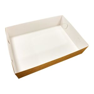 Pudełko catering set box SPÓD op.50szt 25x35cm h 8cm brązowo-białe TnG