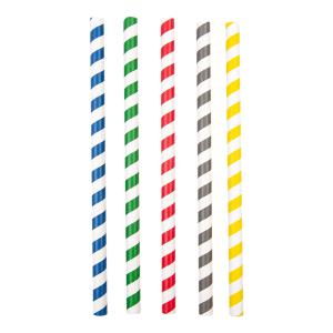 Słomki papierowe śr.10mm dł.20cm  Bubble Tea, op.50szt. (k/48) mix kolorów