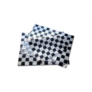 Papier pakowy powlekany 22+8PE, z nadrukiem kratki czarnej, rozmiar 30x40, cena za opakowanie 1000 arkuszy