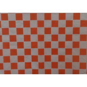 Papier pakowy powlekany 22+8PE 30x40 z nadrukiem kratka pomarańczowa, cena za opakowanie 1000arkuszy
