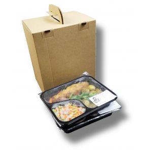 Pudełko z uchwytem składanym na płasko DIETA BOX na pojemniki obiadowe, 190x230x285mm