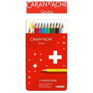 Crayons CARAN DACHE Swisscolor, metal box, 12 pcs