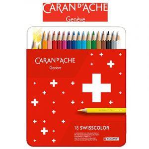 Crayons CARAN DACHE Swisscolor, metal box, 18 pcs