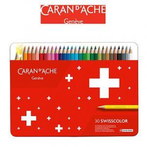Crayons CARAN DACHE Swisscolor, metal box, 30 pcs