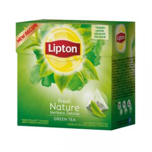 Tea LIPTON Green Nature, pyramid bags, 20 bags, green