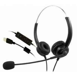 Zestaw słuchawkowy MEDIARANGE, z mikrofonem i panalem sterowania, czarny op. 1 szt.
