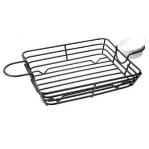 Koszyk metalowy prostokątny z uchwytami na sosy 275x175x50 op. 1 sztuk