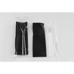 Konfekcja SUPERIOR czarna serwetka transparentny widelec + nóż w folii TnP op. 200 zestawów