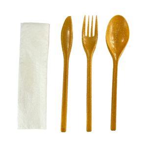 Konfekcja WPC 1 włókno drewniane, widelec+nóż+łyżka+serwetka w folii, op. 200 szt.