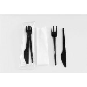 Zestaw czarny nóż+widelec i biała serwetka, cena za 250 sztuk