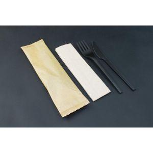 Konfekcja eco-set PLA czarna w papierku op.200szt, widelec+nóż+serwetka eko; biodegradowalne BLACK PREMIUM EDITION