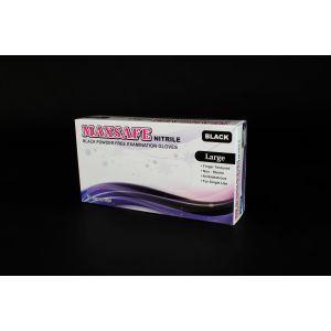Rękawiczki nitryle czarne MAXSAFE roz.L BLACK bezpudrowe op. 100 sztuk