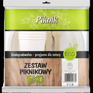Zestaw PIKNIK grillowy EKO komplet biodegradowalny: 4 talerze, 4 widelce, 4 noże, 4 kubki