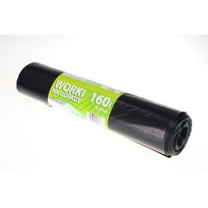 Worki na odpady LDPE 160l STANDARD+ czarne, 10 sztuk na rolce