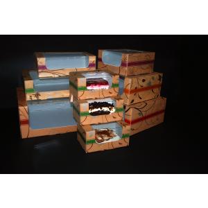 Pudełko cukiernicze 25x25x12cm karton: biało/brąz. nadruk cukierniczy z okienkiem, cena za op.50szt