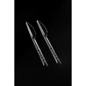 Nóż MEDIUM transparentny, krzyżyki 18,5cm sztaplowany op. 50 sztuk