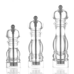 Plastic pepper mill, crystal clear code 469330