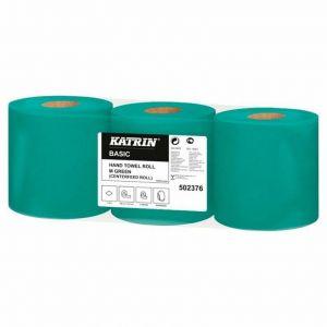 KATRIN Ręcznik rola 150m Basic zielony op. 3 rolki centralnie dozowany