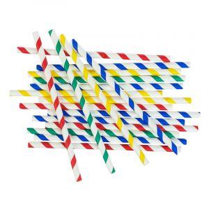 """Słomki papierowe śr.8mm dł.20cm w paski op.150 szt. (k/28) MIX KOLORÓW TnG """"Stripes mix"""""""