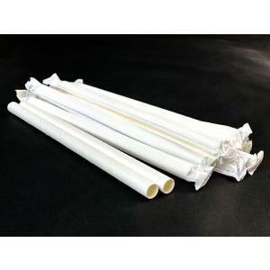Słomki papierowe śr.10mm dł.20cm białe Bubble Tea, op.200szt. (k/10) konf. w papierku  TnG
