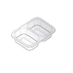 Pojemnik obiadowy do zgrzewu W1/601A, mały niski dwudzielny, bezbarwny, 187x137x36mm, cena za opakowanie 640szt