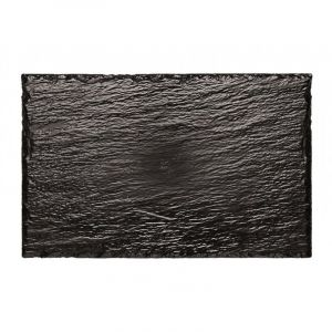 FINGERFOOD - taca 14x22 czarna PS imitacja kamienia op. 10 sztuk