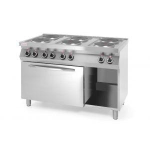 Kuchnia elektryczna 6-płytowa Kitchen Line z konwekcyjnym piekarnikiem elektrycznym GN 1/1 - kod 226247