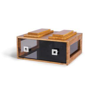 Pojemnik podwójny z bambusa z szufladą