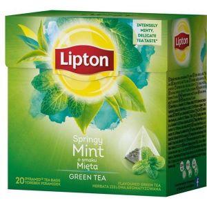 Tea LIPTON, pyramid bags, 20 bags, green with mint