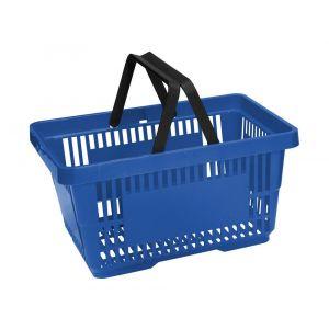 Koszyk plastikowy sklepowy 20l, 2-rączki, niebieski