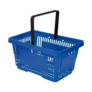 Koszyk plastikowy sklepowy 20l, 1-rączka, niebieski