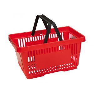 Koszyk plastikowy sklepowy 20l, 2-rączki, czerwony