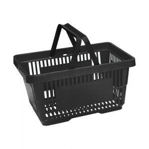 Koszyk plastikowy sklepowy 20l, 2-rączki, czarny