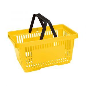 Koszyk plastikowy sklepowy 20l, 2-rączki, żółty