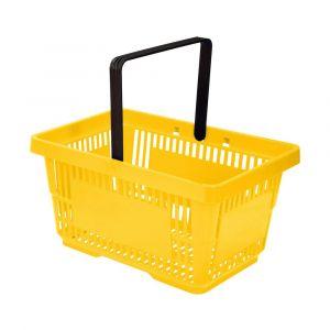 Koszyk plastikowy sklepowy 20l, 1-rączką, żółty