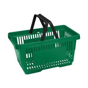 Koszyk plastikowy sklepowy 20l, 2-rączki, zielony