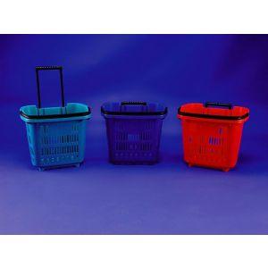 Koszyk sklepowy na kółkach plastik niebieski Rolling Basket