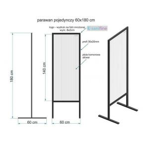 Ścianka ochronna z poliwęglanu parawan pojedynczy 60x180 cm