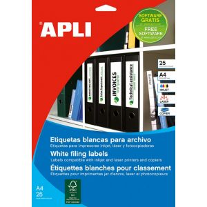 Etykiety samoprzylepne do segregatora APLI, 61x190mm, 100szt., białe