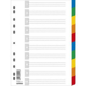 Przekładki DONAU, PP, A4, 225x297mm, 10+1 kart, mix kolorów